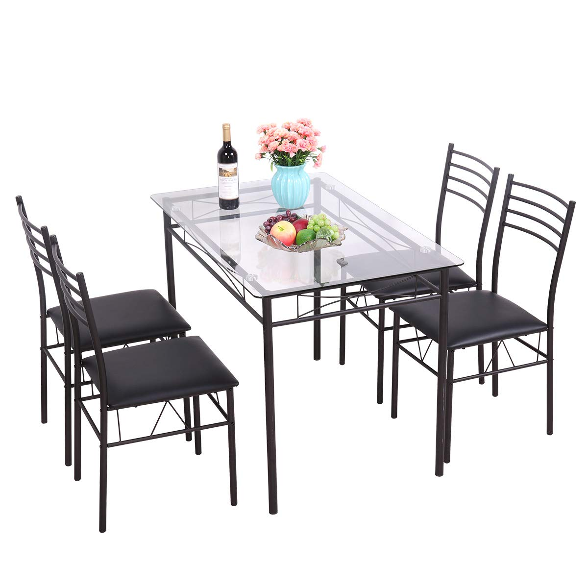 Black 5 Piece Dining Table Set Tempered Glass Top Table w/ 4 Upholstered Chairs Kitchen Furniture by BWM.Co