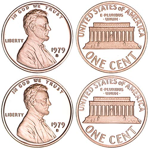 - 1979 S Lincoln Memorial Cent Type 1 & Type 2 Gem Deep Cameo Proof Pennies