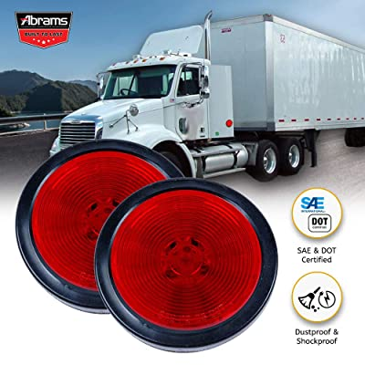 "Abrams 2.5"" Round Red 13 LED Side Marker Trailer Lights [Waterproof] Clearance Light [2 in 1 Reflector] [Polycarbonate Reflector] For Trucks & Trailers [SAE/DOT Certified] [IP67 Submersible] 2 Pack: Automotive"