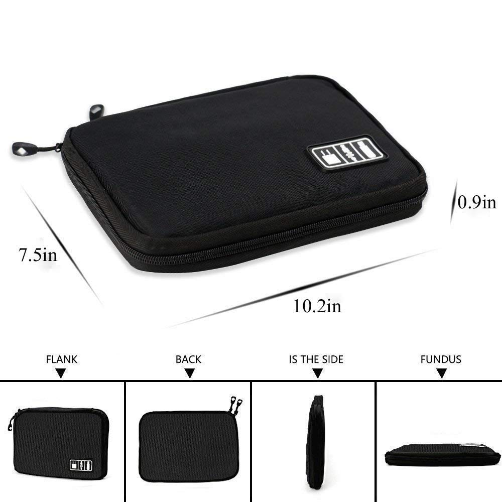 Cables SD Card Black YiKaSin Cable Case Small Travel Electronics Cable Organizer Bag for Hard Drives USB Cable