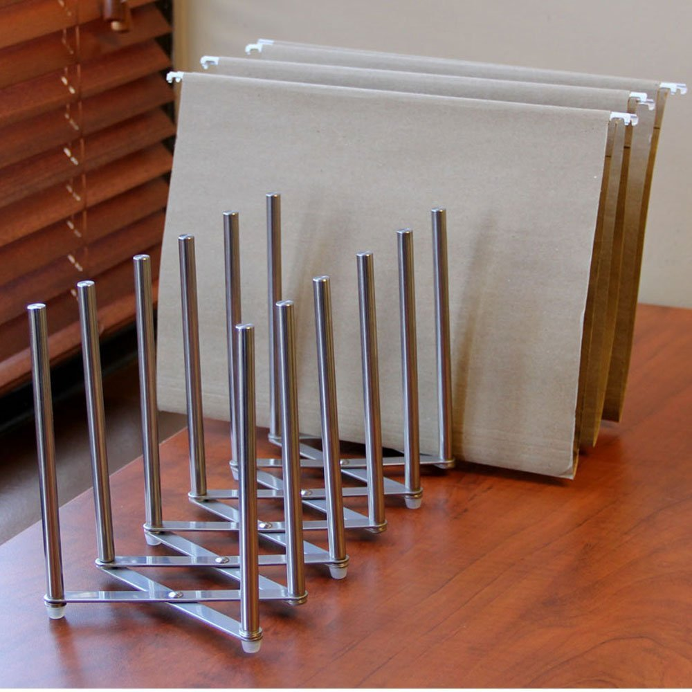 Adjustable Table Desk Top File Magazine Holder Stacking Sorter 8 Sectional Extends up to 28 Length Stainless Steel Brightmaison