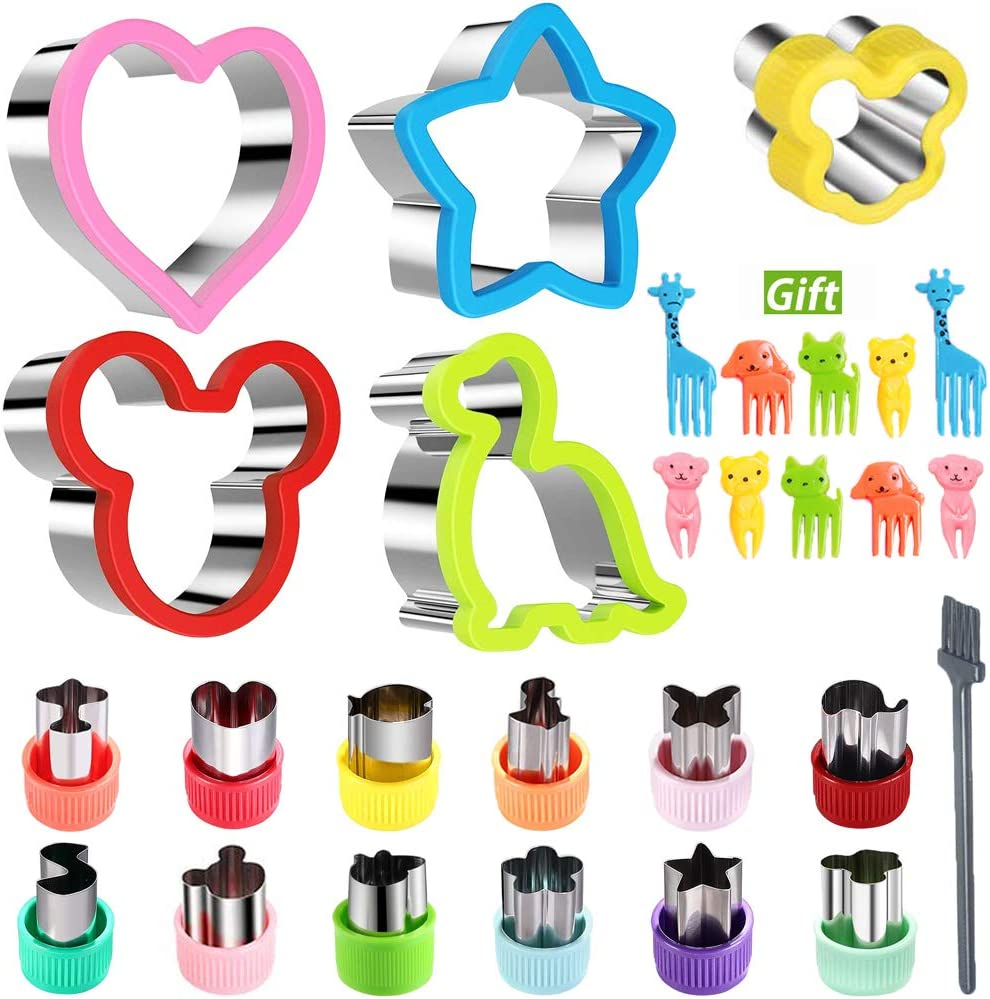 KAISHANE Sandwich Cutters Set For Kids Vegetable Fruit Cutter Shape Animal Dinosaur Mickey Mouse Heart Star Bread Cutter Food Picks Cleaning Brush