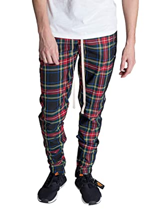 28cbfee7dc7a KDNK Men's Tapered Skinny Fit Elastic Waist Bold Plaid Ankle Zip Track Pants  (Small,