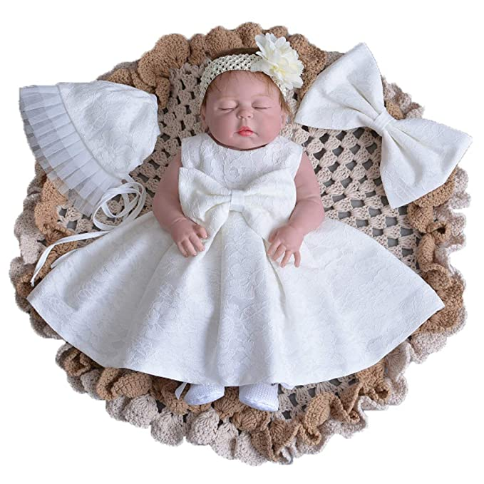 79503231e iYang Baby Girls' Newborn Lace Flower Bowknot Christening Dresses Gauze  Infant Girls Baptism Wedding Dress
