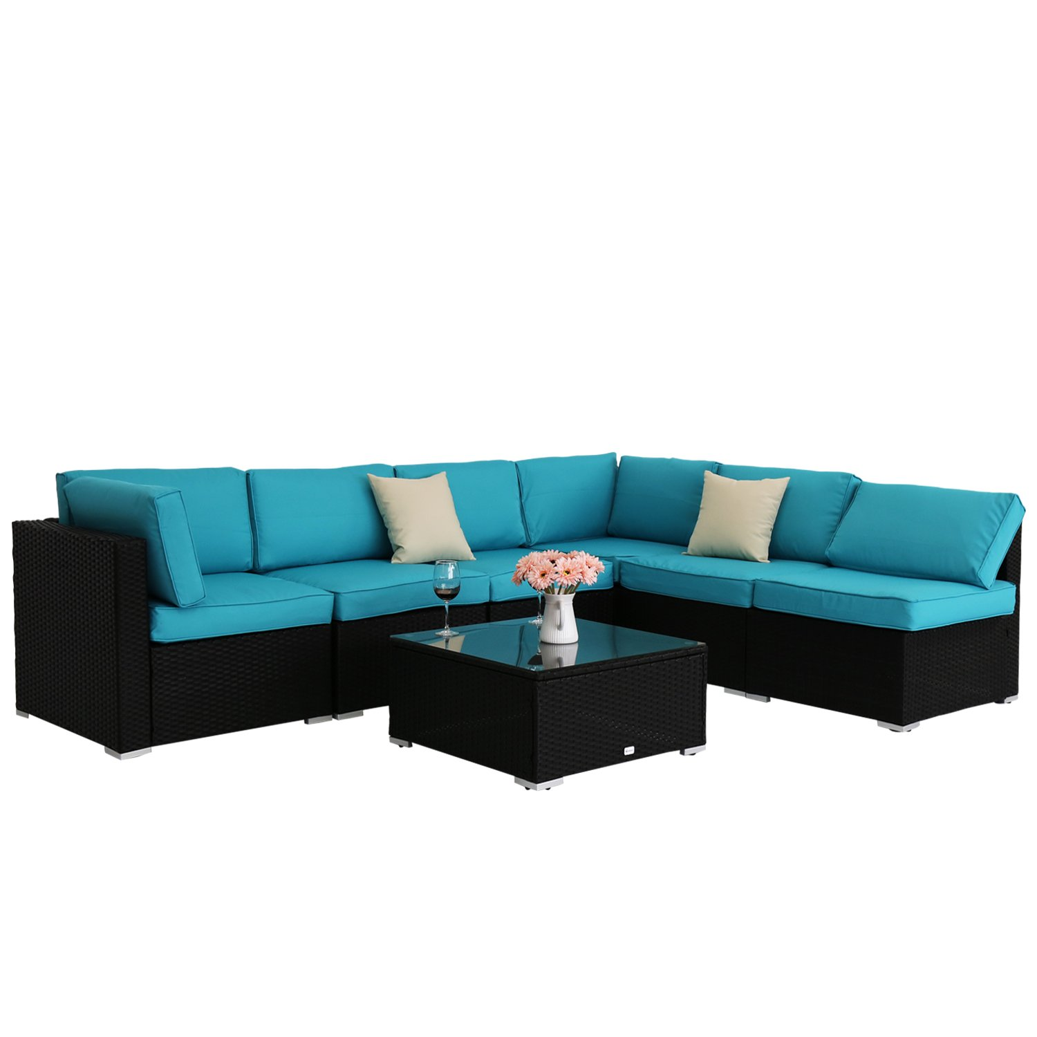 Peach Tree 7 PCs Outdoor Patio PE Rattan Wicker Sofa Sectional Furniture Set With 2 Pillows and Tea Table by Peachtree Press Inc (Image #7)