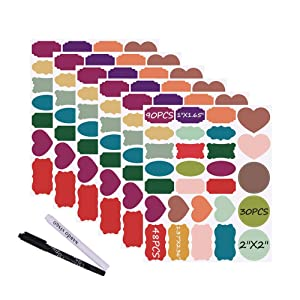 Nardo Visgo Colored Chalkboard Labels: 168 Premium Stickers + 2 Chalk Markers-Waterproof Removable Reusable Chalkboard Stickers,Perfect for Decorating Your Mason Jars Pantries Crafts and Offices