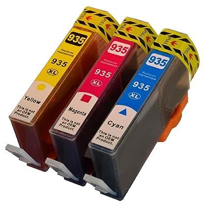Cartuchos de impresora Juego de 3 935 XL para impresora HP cian ...
