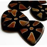 "Unique & Custom [Medium Gauge - Traditional Style Sharp Tip] Hard Luxury Guitar Pick Made of Genuine Starfish Buffalo Bone ""Black and Brown Colored"" {Single Pick}"
