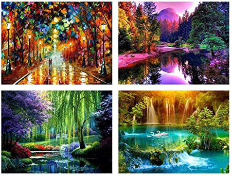 FineGearPow 4 Pack 5D DIY Diamond Painting Kit Full Drill Crystal Embroidery Painting Cross Stitch Arts Crafts for Home Wall Decor, 15.7 x 11.8 inches Without Frame
