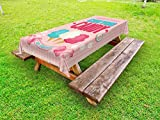 Lunarable Vintage Outdoor Tablecloth, Cotton Candy Advertising Poster Design Aged Look Sweet and Fluffy Tasty Flavors, Decorative Washable Picnic Table Cloth, 58 X 84 inches, Multicolor