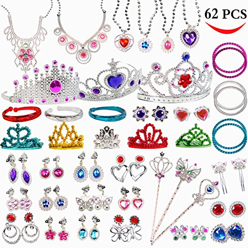 Original Color Jewelry Toy,62 Pieces Princess Pretend Jewelry Toy Playset,Assorted Jewelry Dress Up Toy Rings,Earrings,Necklaces,Crowns,Bracelets,Wands For Girls Birthday Gift,Princess Party Favor Princess Birthday Favors