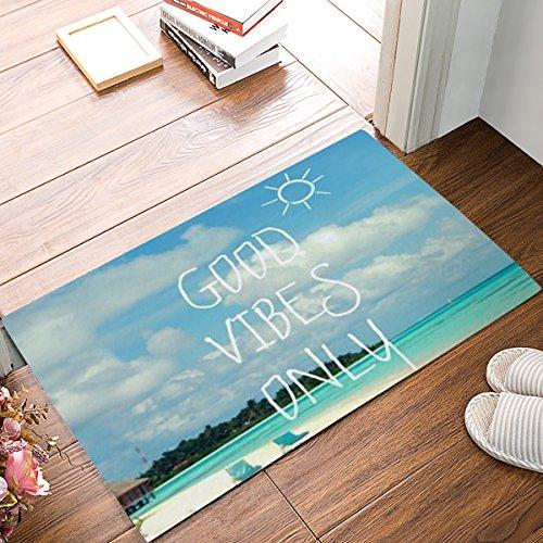 CHARM HOME Blue Sea Beach With Funny Good Vibes Only Quotes Doormats Entrance Mat Floor Mat Door Mat Rug Indoor/Outdoor/Front Door/Bathroom Mats Rubber Non Slip(31.5