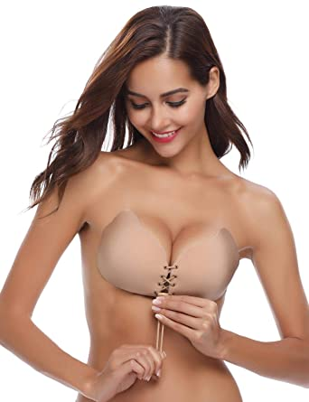 Abollria Sujetador Adhesivo Invisible Mujer, Bra Silicone Reutilizable Push UP Bra con Gel Adhesivo y Ajustable String Blanco, E: Amazon.es: Ropa y ...