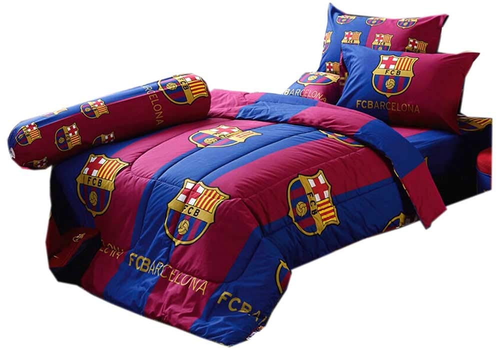 Barcelona Fc Football Club Official Licensed Bedding Set, Bed Sheet, Pillow Case, Bolster Case (Not Included Comforter) Bc02 (Set B) Queen Size (La Liga Soccer)