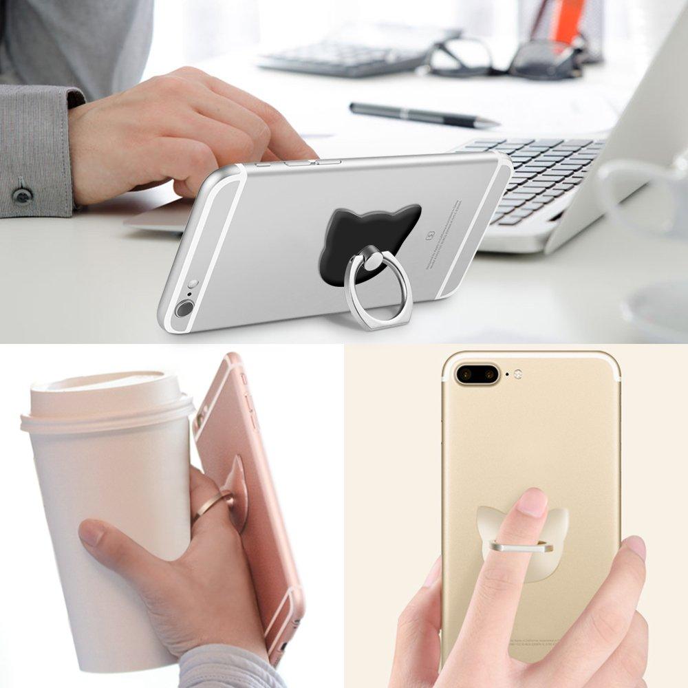 Lot de 4 en forme de chat t/él/éphone portable Bague support Yucool 360 /° de rotation universel doigt B/équille Grip Lot de 1 V support pour smartphone Support de tablette