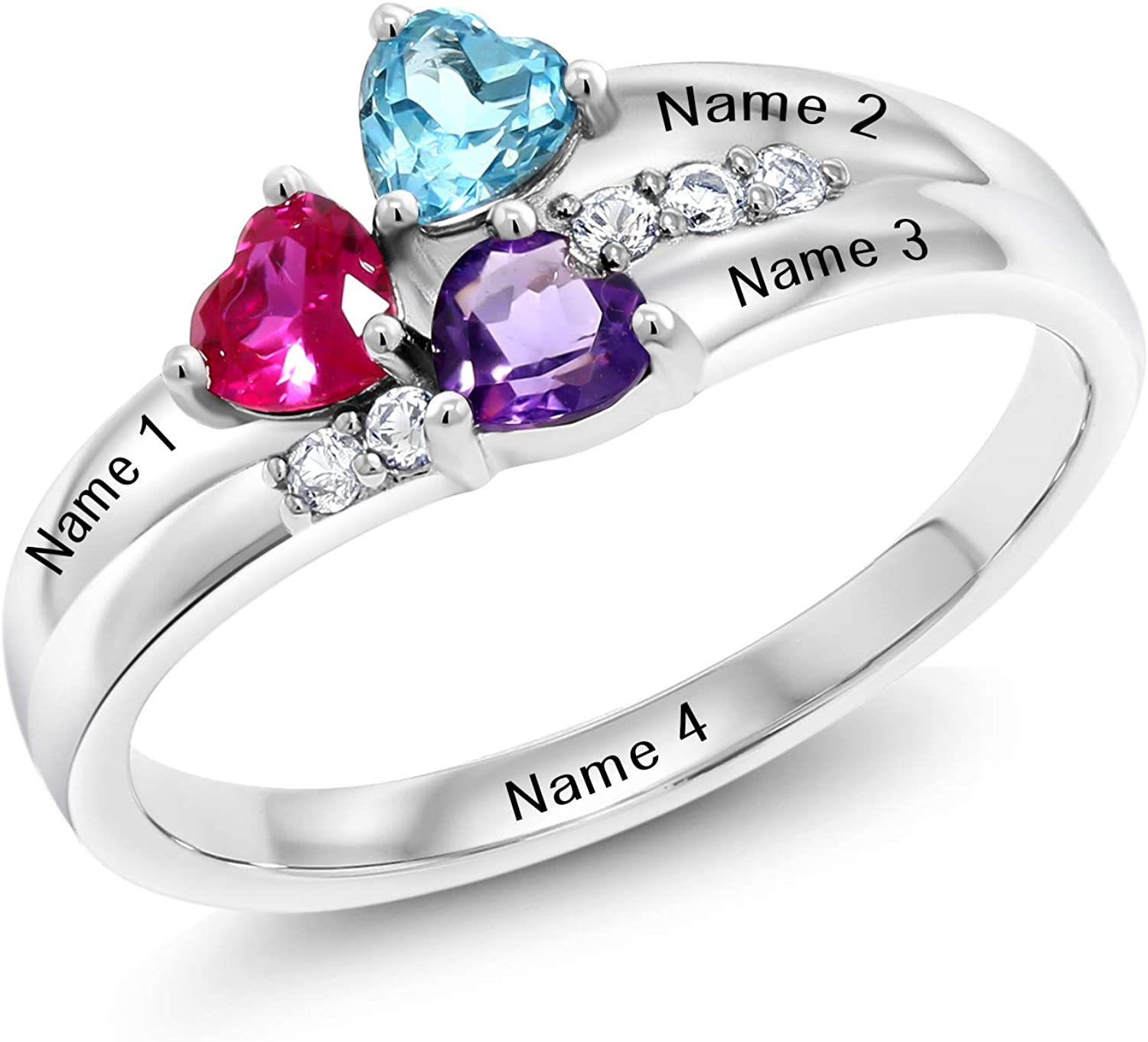 Beatiful Ring Genuine Sterling Silver 925 Nmae Ring Mum Sister Ring Names Ring 1 Or 2 Name Personalized Sterling Silver Women Gift Ring