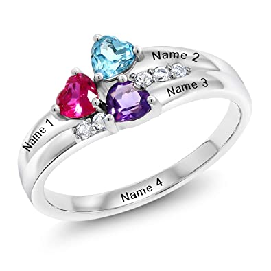 c3e5bdd9afb7c Gem Stone King Sterling Silver Engagement Ring Promise Ring Customized &  Personalized 3 Birthstone Build Your Own Forever United For Her Heart Shape  ...