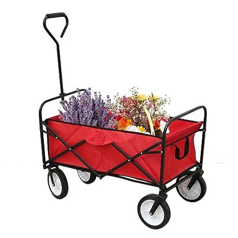 Homgrace Carro de Mano Plegable Carretilla para jardín Exterior, Carga 100kg, paño de Oxford