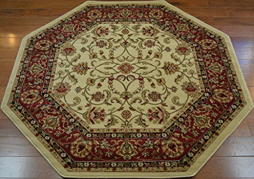 Claret Traditional Rug - Classic Keshan Traditional Ivory Beige Area Rug 5'3