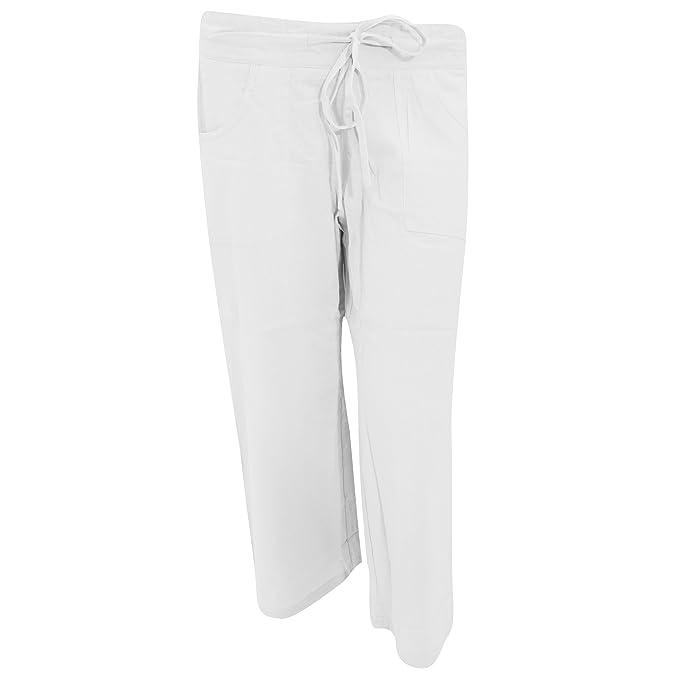 Pantalones 3 4   Piratas de lino lisos para mujer (40 Blanco ... 6e4bd3e69384