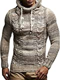 Leif Nelson LN20227 Men's Knitted Pullover,Beige,US-M / EU-L