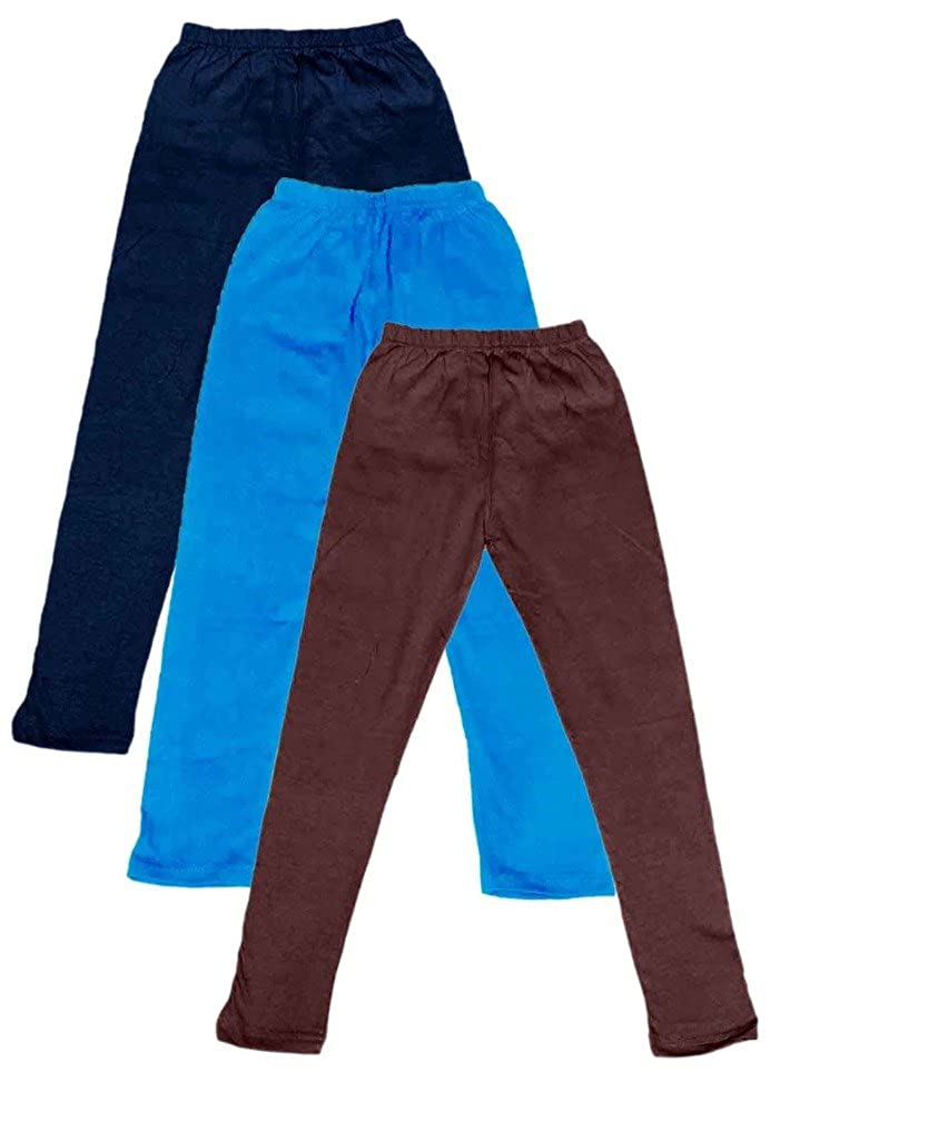 Indistar Little Girls Cotton Full Ankle Length Solid Leggings -Multiple Colors-4-5 Years Pack of 3