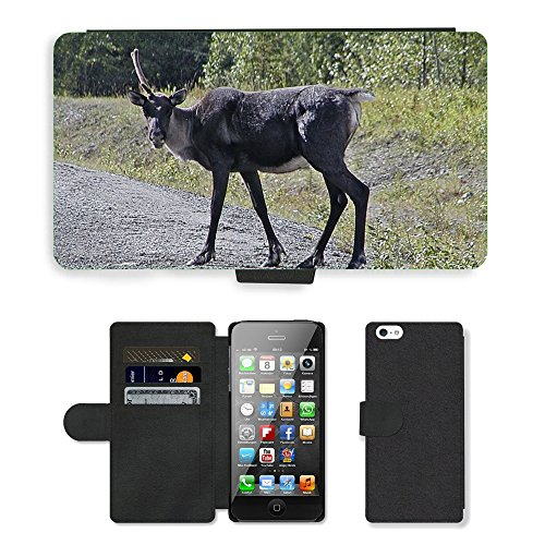 Hot Style Cell Phone Card Slot PU Leather Wallet Case // M00129799 Caribou Antler Wild Wildlife Animal // Apple iPhone 5 5S - Antlers Caribou