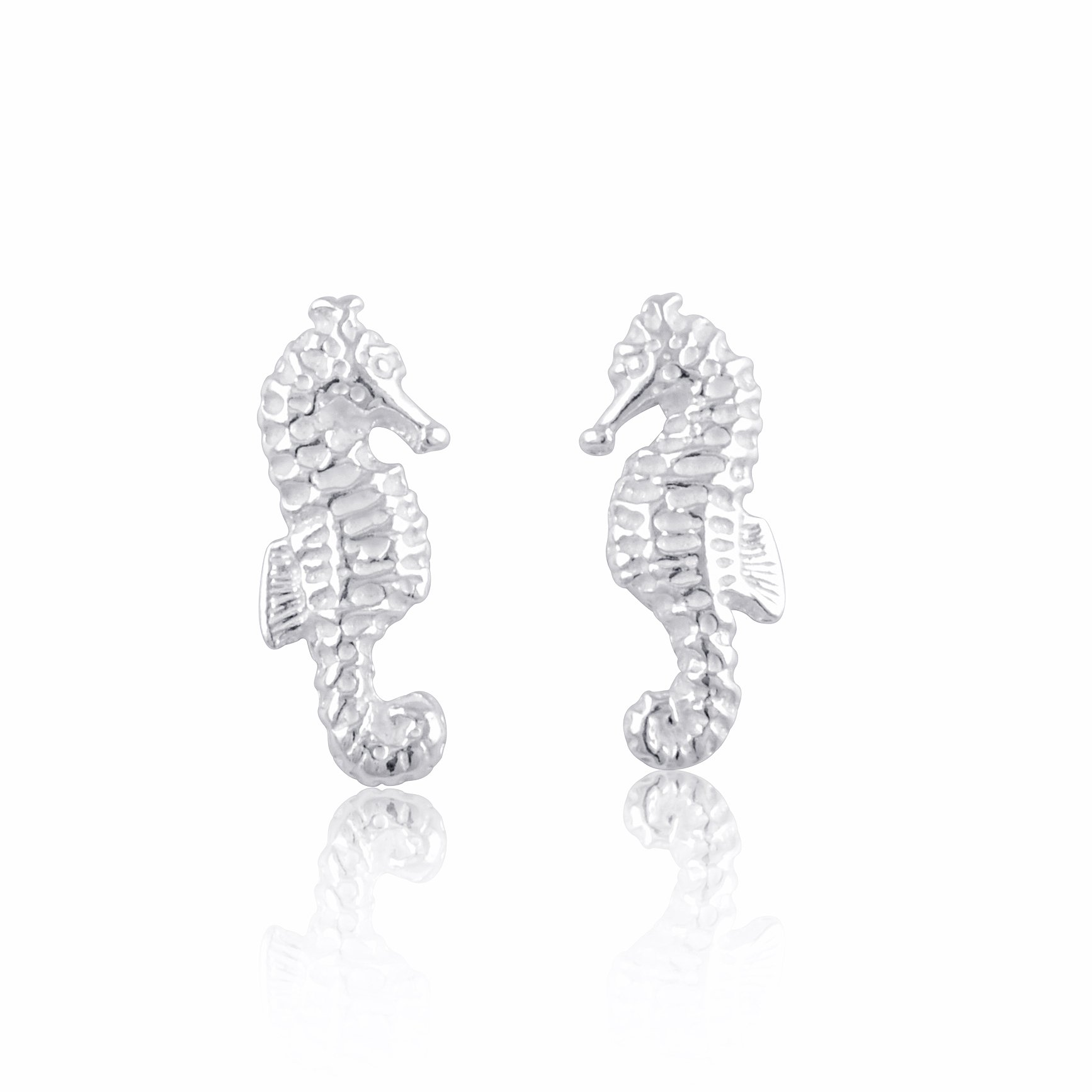 Sterling Silver Small SeaHorse Stud Earrings 12mm