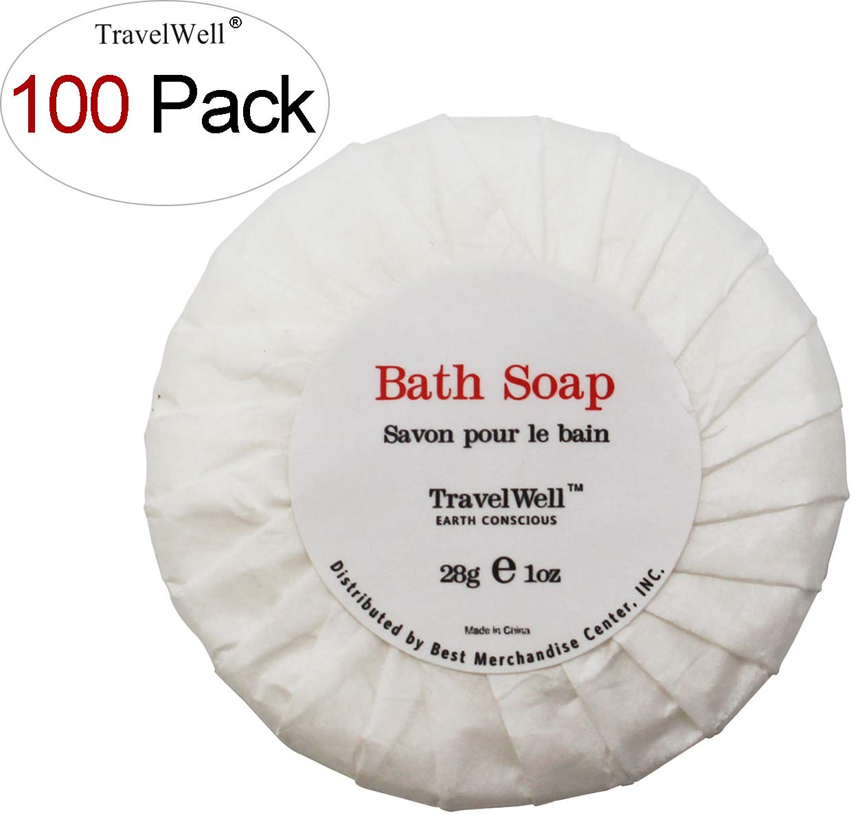 TRAVELWELL Travel Soap In Bulk Hotel Size Round Cleaning Soaps 1.0oz/28g, Individually Wrapped 100 Bars per Box Toiletries Amenities