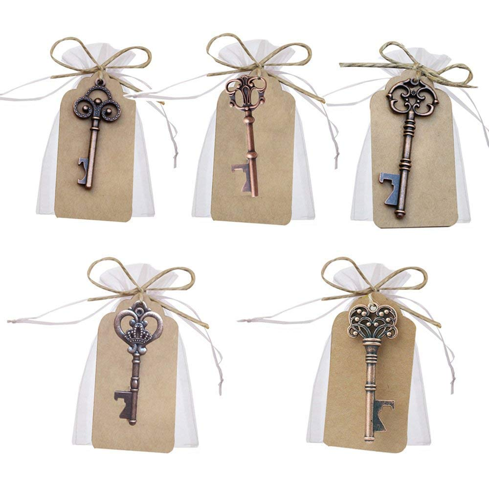 Awtlife 50 Pcs Vintage Key Bottle Open and Sheer Bag for Wedding Party Favors 5 Style