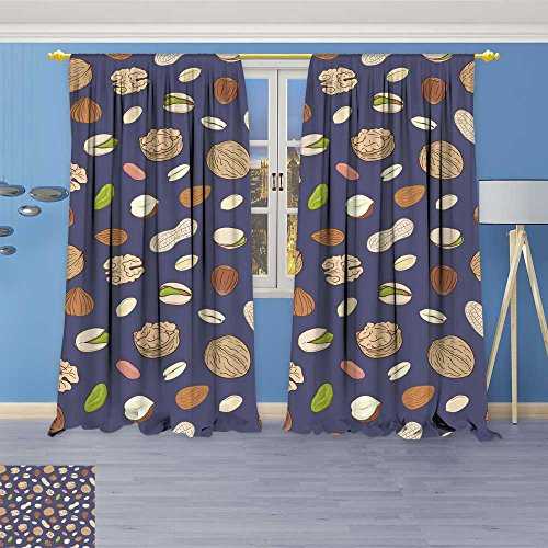 SOCOMIMI Thermal Insulated Blackout Curtain with shelled and Whole Walnuts Peanuts Almonds Pistachios Hazelnuts Living Room Bedroom Window Drapes 2 Panel Set 84W x 72L inch