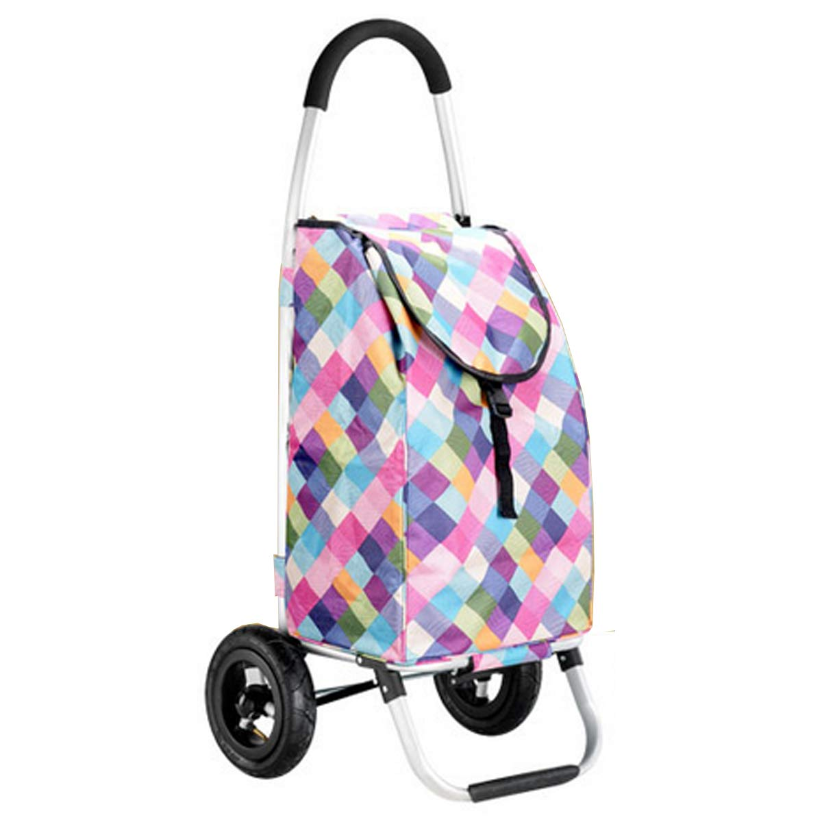 YGUOZ 折りたたみ ショッピングカート 買い物カート、エコ 買い物キャリーと取り外し可能なバッグ、買い物カート 軽量(35L),Colored grid  Colored grid B07MMP8TL6