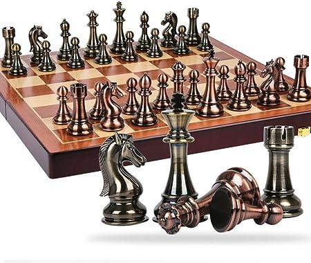 WYBD.Y Ajedrez Internacional portátil de Metal, Competencia de enseñanza, Caja de Regalo de ajedrez de Gran tamaño, Tablero de Madera sólida, Juego Familiar clásico, decoración del hogar: Amazon.es: Hogar
