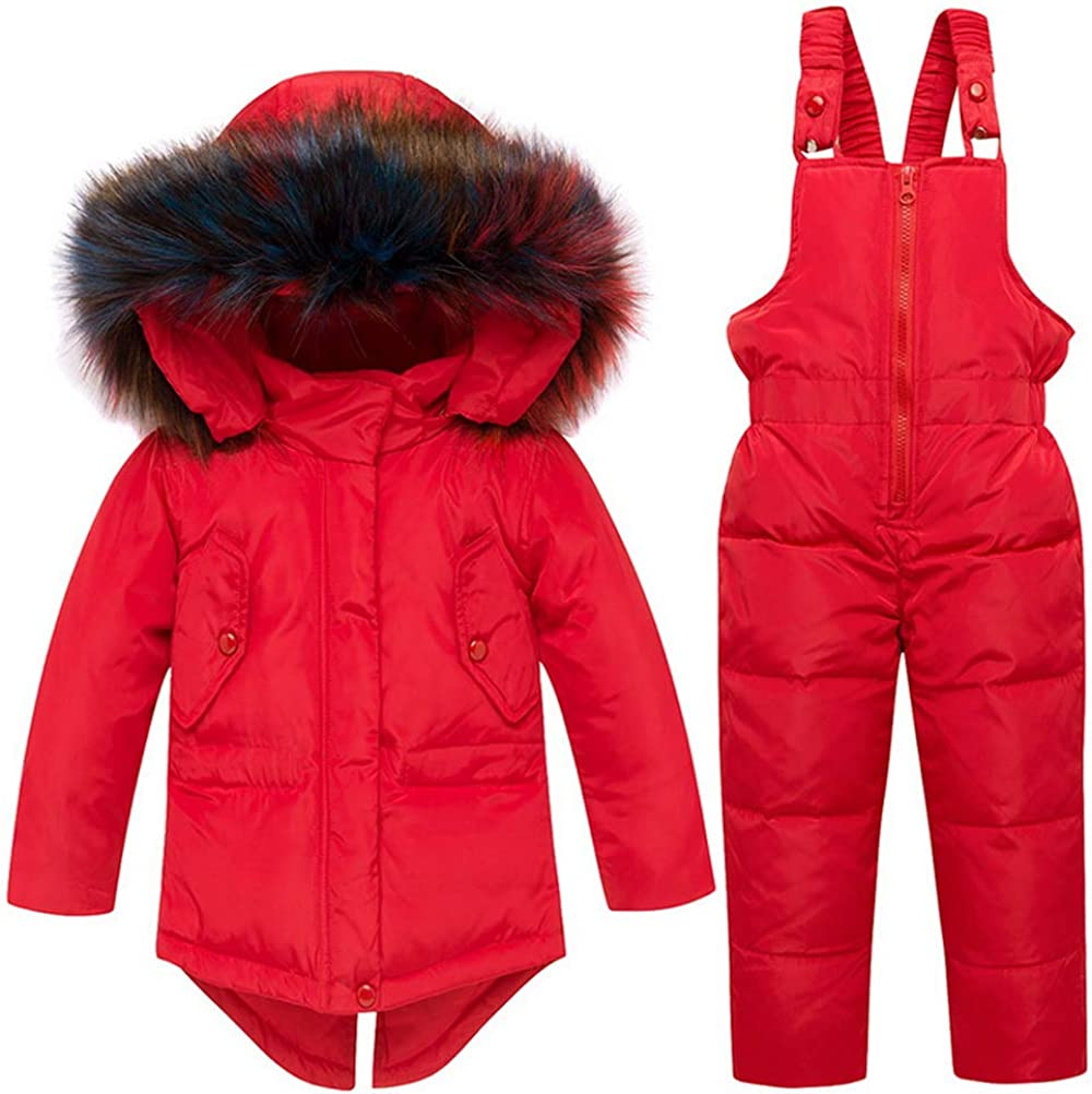 Odziezet Unisex Baby Kids Puffer Winter Warm Snowsuit Jacket Hoodie Coat Down with Snow Down Bib Pants 2 Pieces Ski Outfit Set 0-5 Years