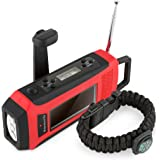 Horizons Tec HT-747.2 Emergency NOAA Weather Radio. Solar & Hand Crank Powered, smartphone Cellphone Charger & Led Flashlight. Paracord Survival Kit Bracelet Flint Fire Starter Compass Whistle