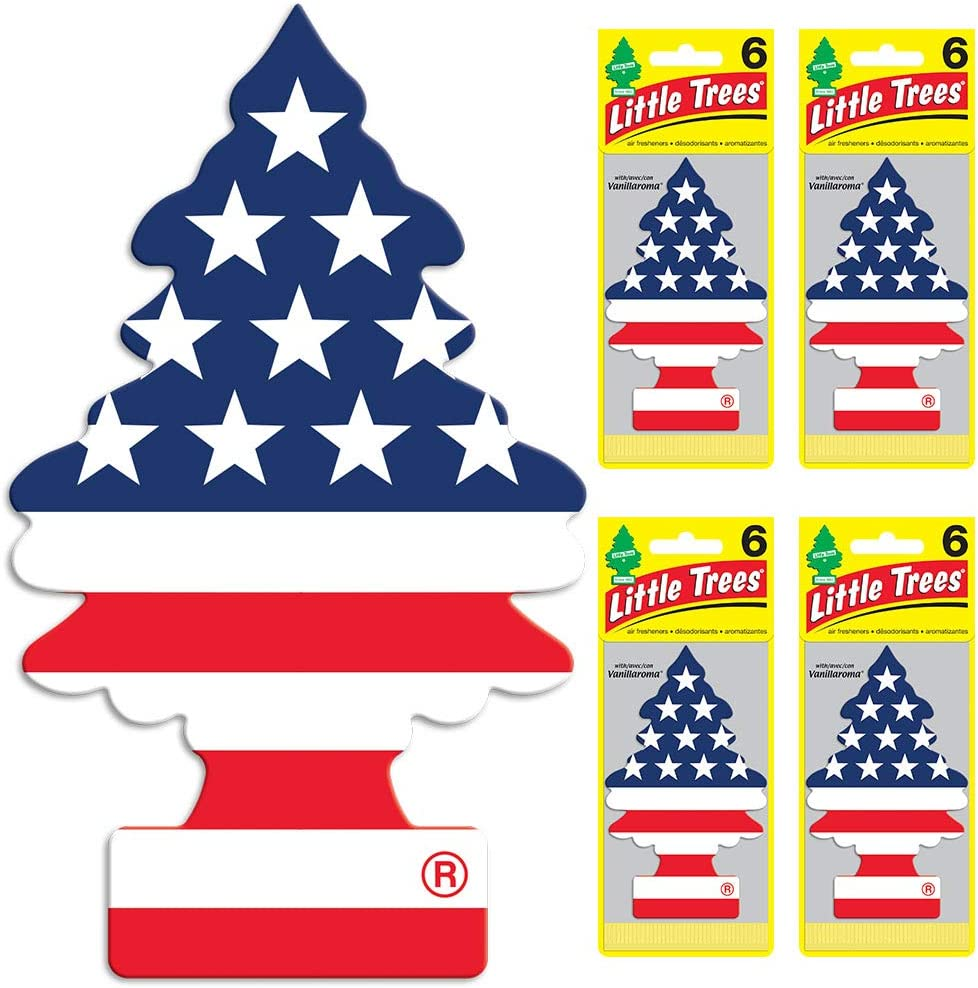 Little Trees - U6P-60945-AMA Car Air Freshener - Hanging Tree Provides Long Lasting Scent for Auto or Home - America, 24 Count, (4) 6-Packs
