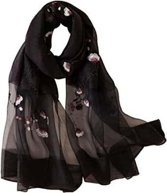 Alysee Women Light Silk&Wool Mixed Lovely Embroidered Scarf Headwrap Shawl