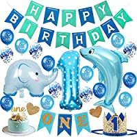 1st Birthday Boy Decorations Set High Chair Decoration First Bday Royal Boys Crown Hat, Happy Birthday Banner, ONE Cake Topper, Foil and Latex Balloons,Animal Balloons and More Decor Supplies Blue Gold Sea Theme