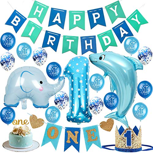 1st Birthday Boy Decorations Set High Chair Decoration First Bday Royal Boys Crown Hat, Happy Birthday Banner, ONE Cake Topper, Foil and Latex Balloons,Animal Balloons and More Decor Supplies Blue -