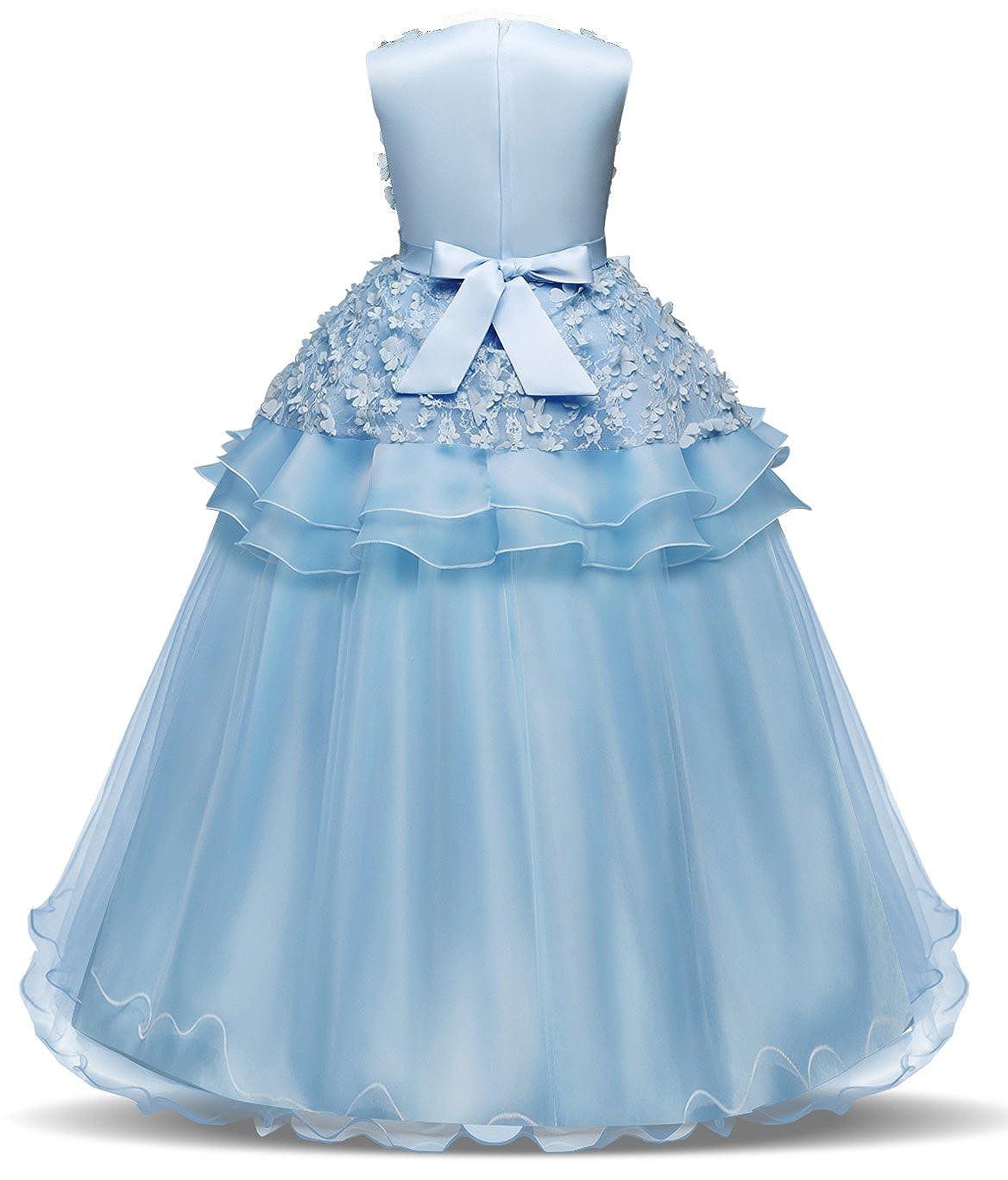 f6dda3c7927 Amazon.com  Bestfive Girls Floor Length Princess Dresses Kids Sleeveless  Wedding Party Prom Ball Gowns Dress 5-14 Years  Clothing