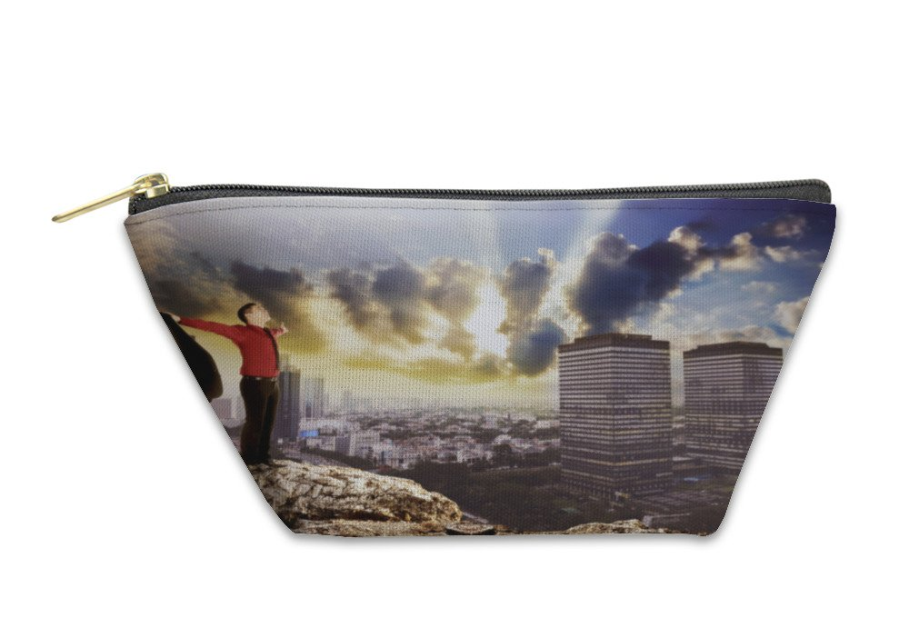 Gear New Accessory Zipper Pouch, Business Man Standing On The Top Of The Rock, Small, 5972968GN
