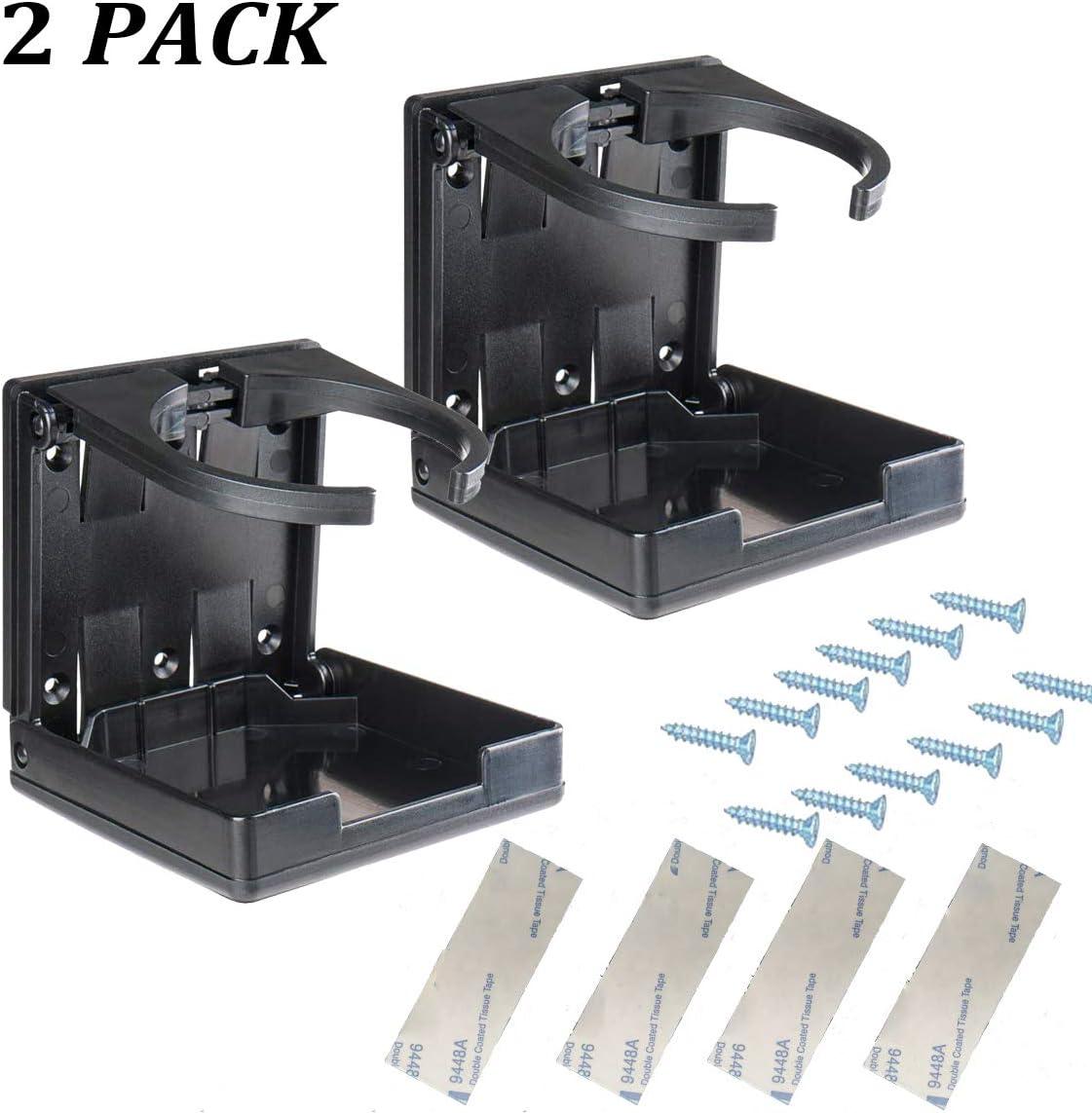 LUFOX 2PCS Adjustable Folding Drink Holder with Screws/Adjustable Cup Holder for Marine/Boat/Caravan/Car (Black)