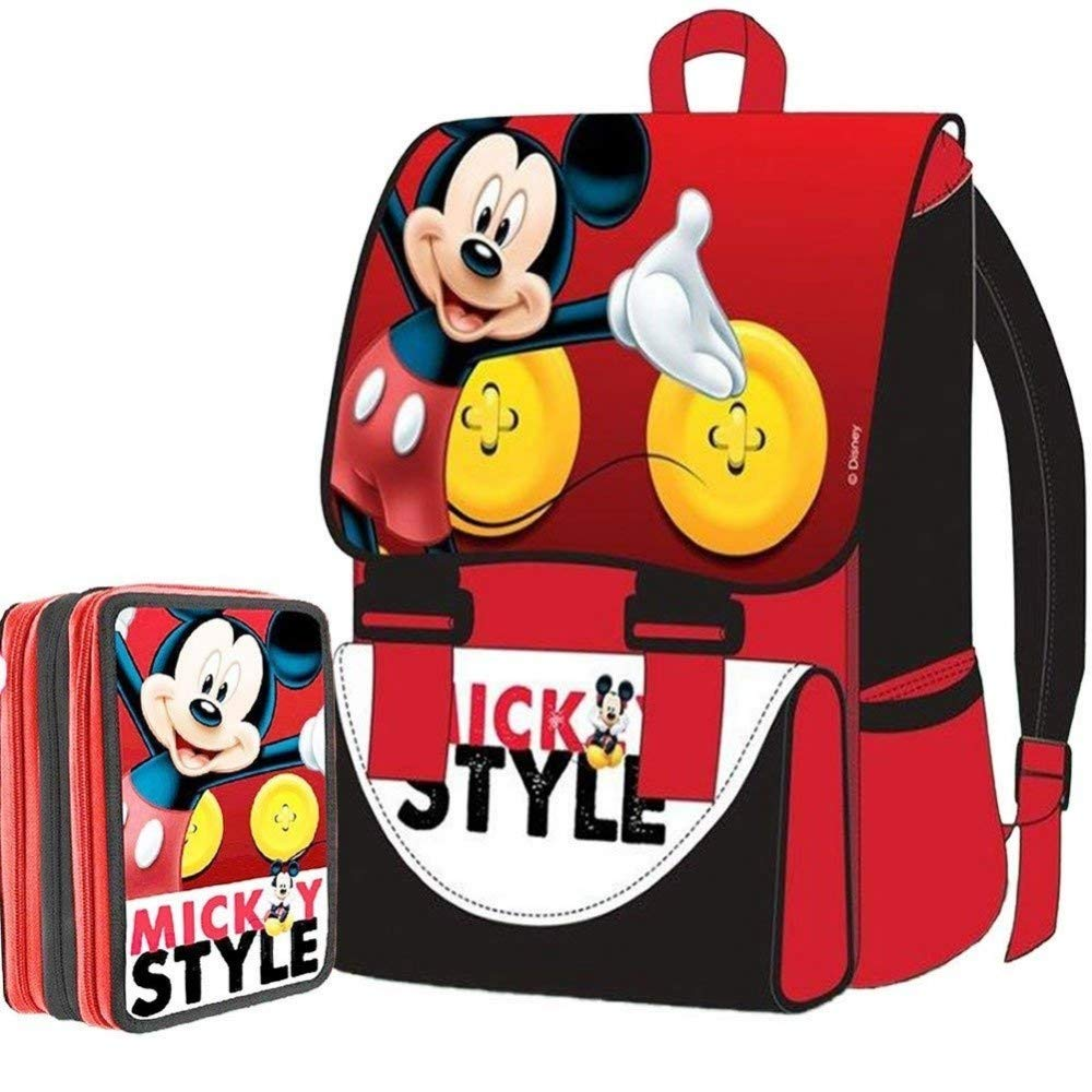 TrAdE shop Traesio- Kit Schule School Pack Rucksack erWeißerbar + Federmäppchen 3 Reißverschluss Disney Mickey Mouse