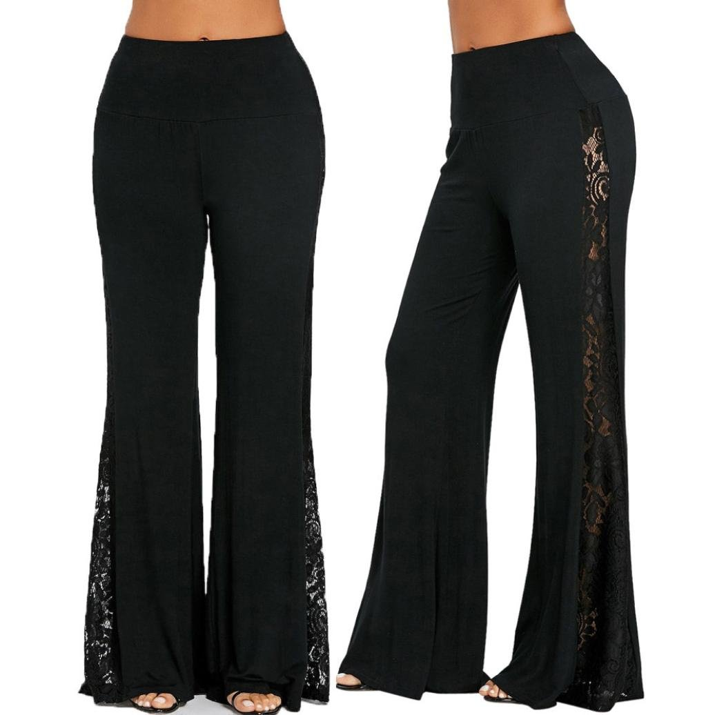 75a49a1dc6ff9 Minisoya Fashion Women High Waist Flowy Lace Patchwork Wide Leg Palazzo  Pants Leggings Casual Loose Lounge Trousers at Amazon Women's Clothing  store:
