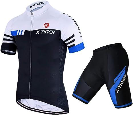 X-TIGER Hombres de Bicicleta con 5D Gel Acolchado MTB Ciclismo Maillots Tirantes Culotte Pantalones Cortos Culotes: Amazon.es: Deportes y aire libre