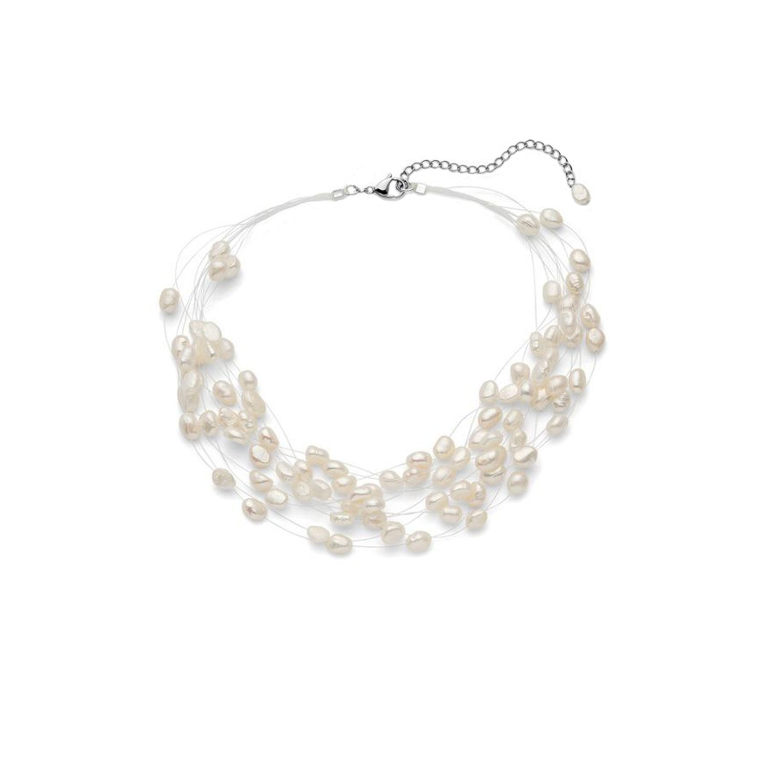 Regalia Multi Strand Baroque White Freshwater Cultured Pearl Necklace by Regalia by Ulti Ramos