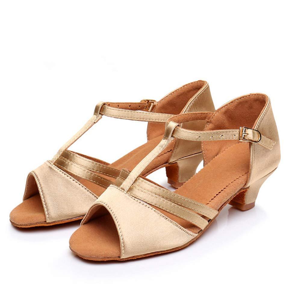 Girls Mary Jane Shoes Low Heel Party Dress Shoes for Kids Beige-EU 33//1.5 M US Little Kid