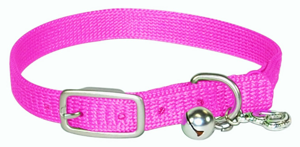 Hamilton 3/8-Inch by 10-Inch Safety Cat Collar with Bell, Hot Pink