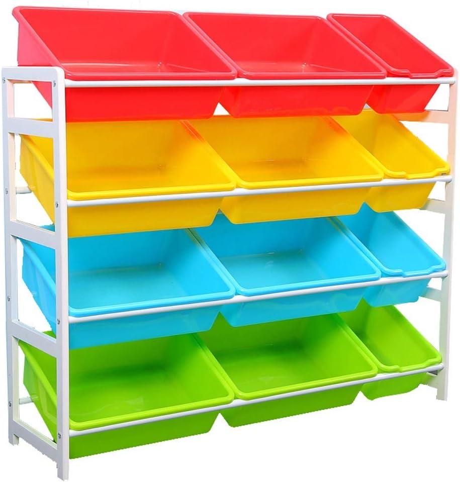 子供用おもちゃ収納ラック 子供部屋のための12のプラスチック大箱箱が付いているおもちゃの収納ユニットの木の収納おもちゃ箱 (色 : 白, サイズ : 100*28*84cm)