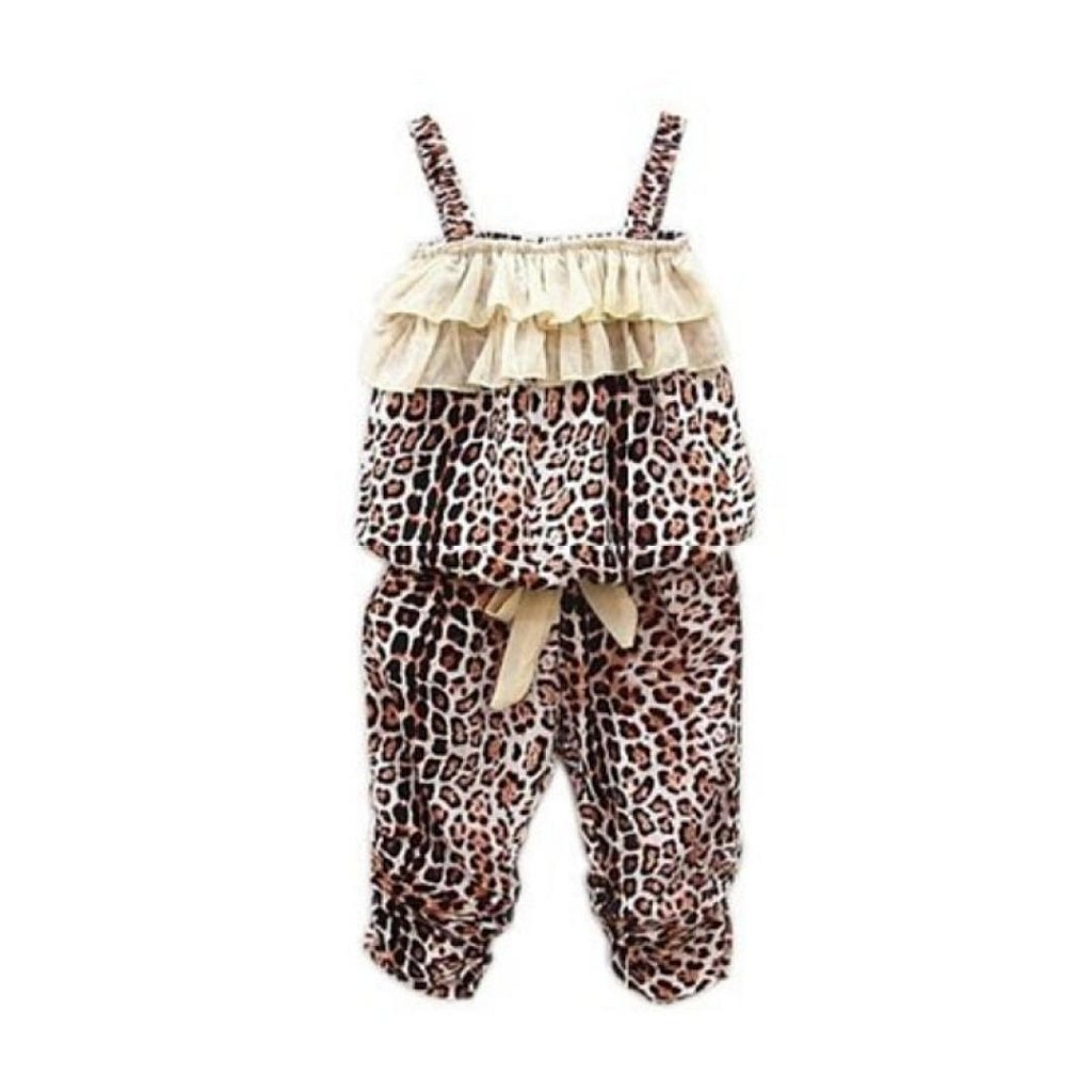FEITONG(TM) Kids Girls Leopard Vest Pant 2 Piece Set Clothing FEITONG666